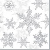 Craft Emotions Napkins 5pcs - Snow Crystal Silver 33x33cm
